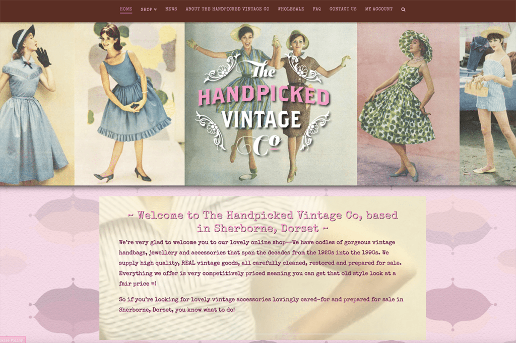 The Handpicked Vintage Co eCommerce Web Design Sherborne Home Page