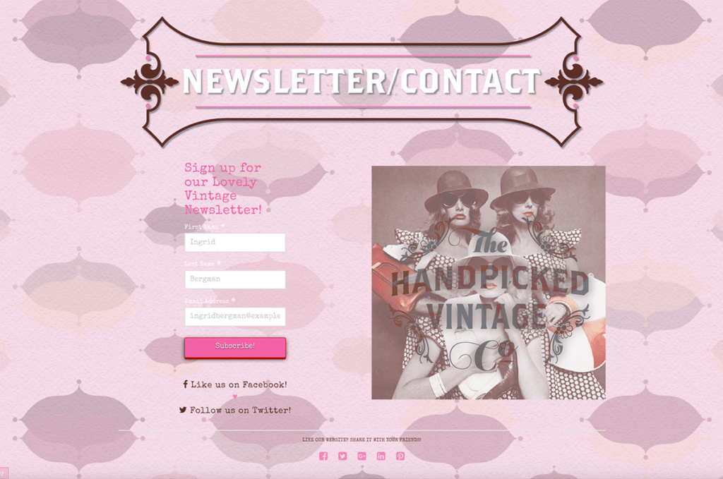 The Handpicked Vintage Co eCommerce Web Design Dorset Newsletter & Contact