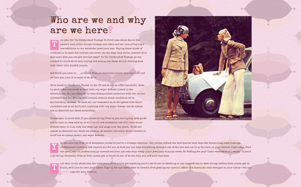 The Handpicked Vintage Co eCommerce Web Design Sherborne About