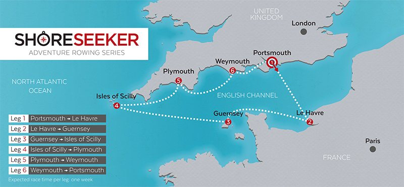 Sailing Route Infographic Map of Britain and France