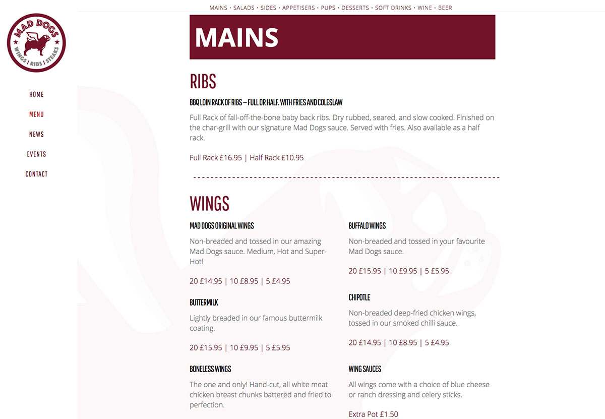 Mad Dogs Website Menu