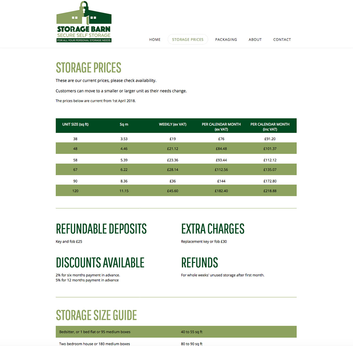 Storage Barn Website Prices